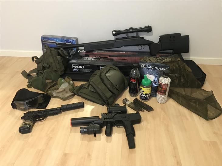 Bild för varan: Airsoft komplett kit (Vapen, utrustning, mm)