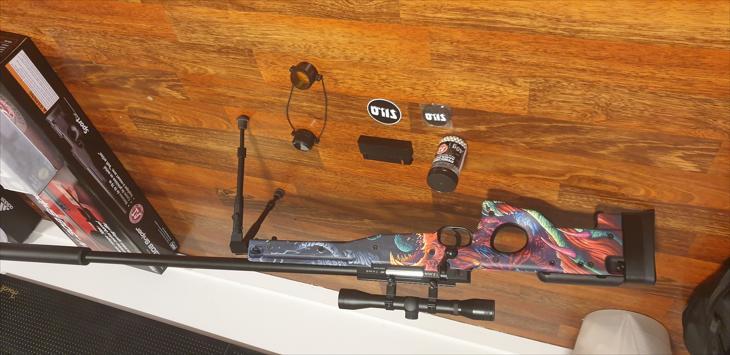 Bild för varan: AWP airsoft sniper med hyper beast skin och massa tillbehör