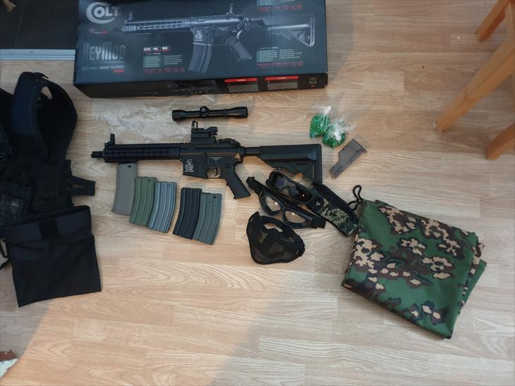 Bild för varan: Airsoftpaket! COLT M4A1 METAL KEYMOD CQB - Lipo Batteri